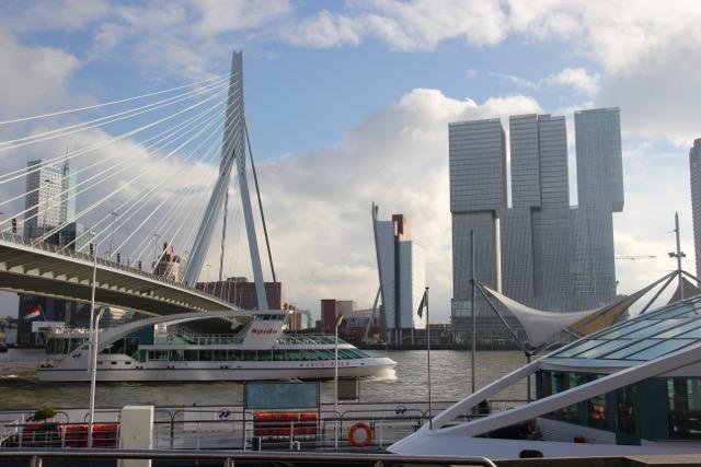 The Erasmus Bridge and some of Rotterdam's modern architecture