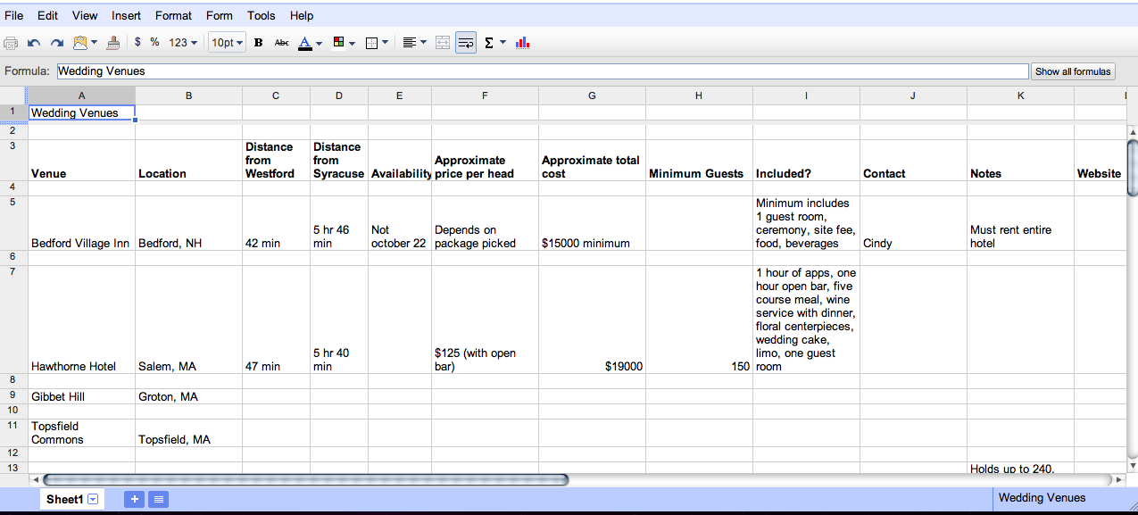 wedding venue spreadsheet