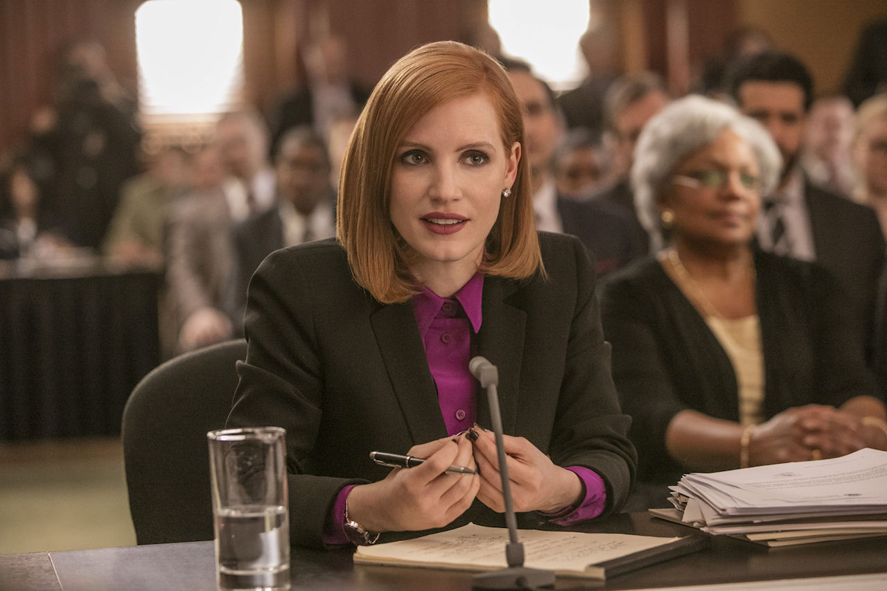 Jessica Chastain stars in MISS SLOANE. (Photo by Kerry Hayes / courtesy of EuropaCorp).