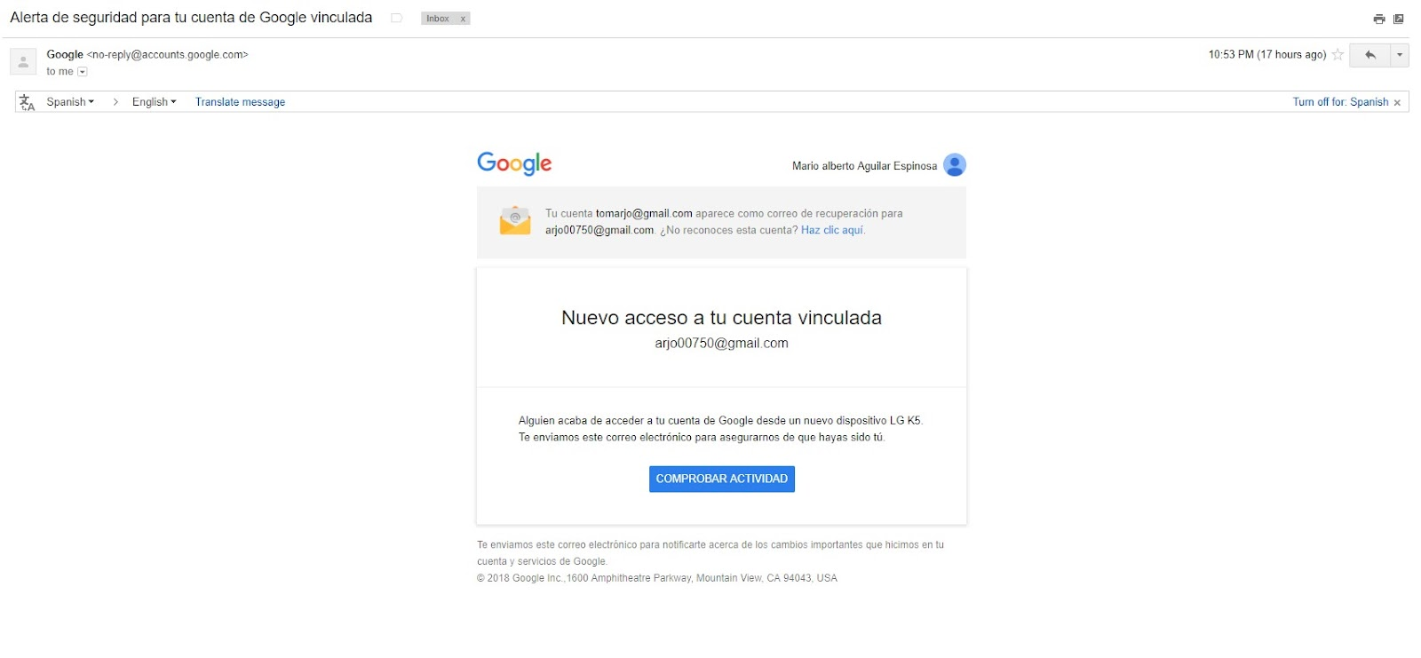 Possible fake/scam Google Security Alert - Gmail Help