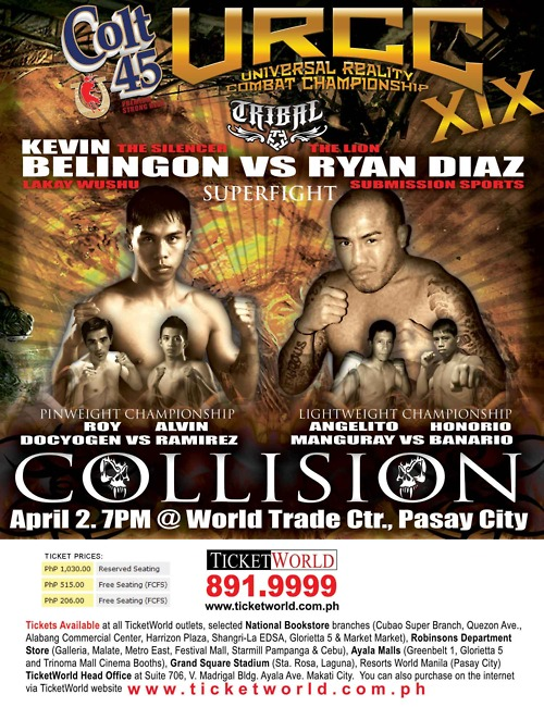 Colt 45 Premium Strong Beer, C O L L I S I O N, URCC XIX (Universal Reality Combat Championship) Live in World Trade, poster, pictures, game result