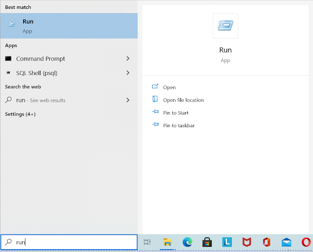 Launch Run Dialog By Searching On Windows Search Bar