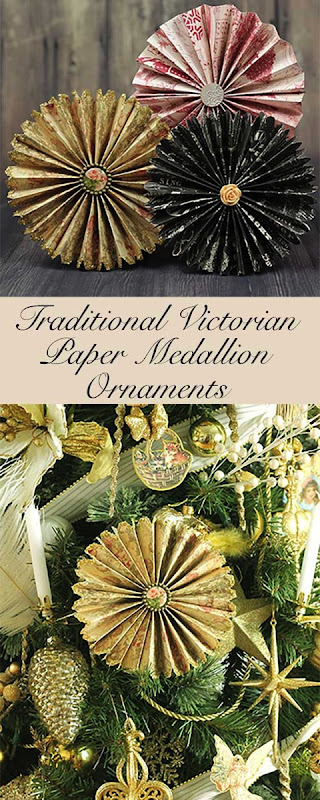 Victorian paper fan medallion oranaments the kim six fix for A common decoration for the top of the tree