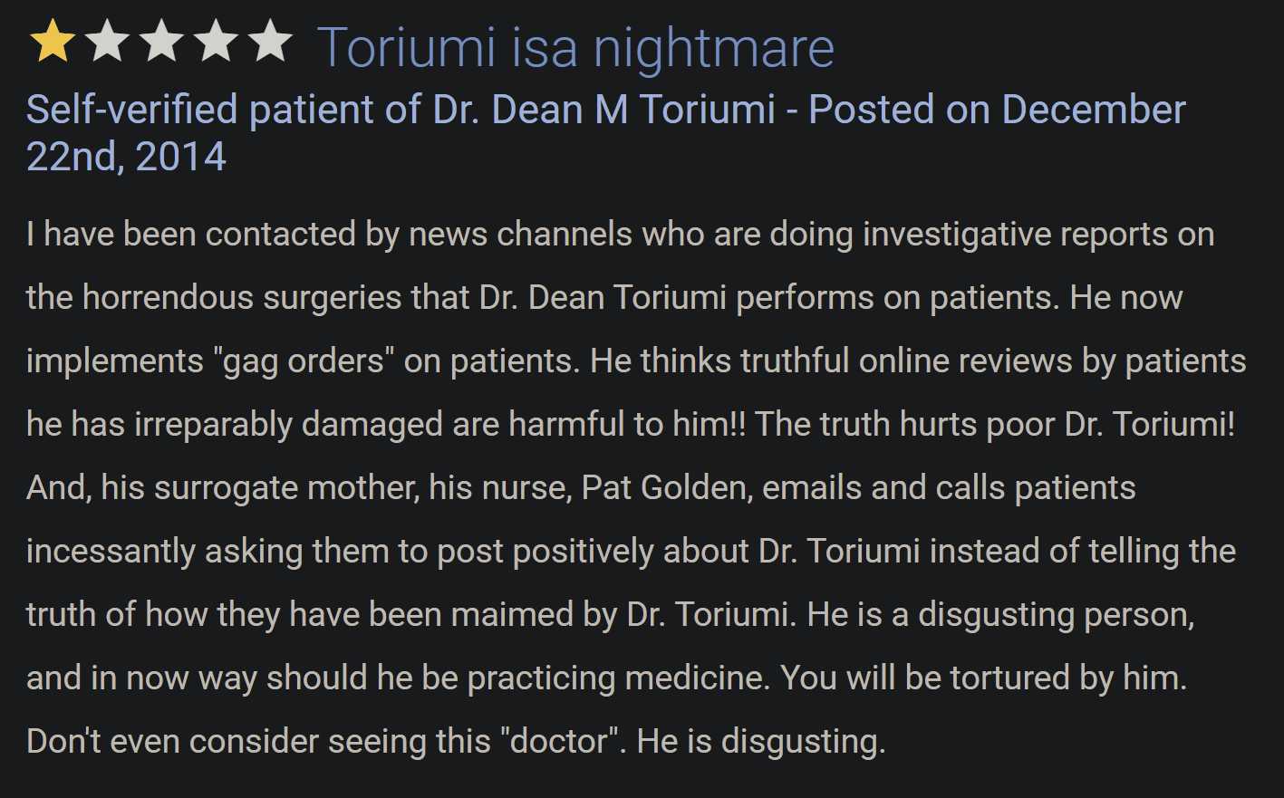 Dr. Dean Toriumi review 1