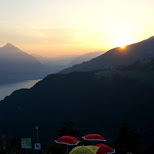 sunset view from Harder Kulm in Interlaken in Grindelwald, Bern, Switzerland