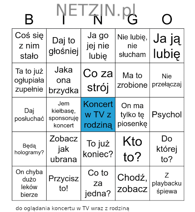 Bingo: oglądanie z rodziną koncertu w telewizji