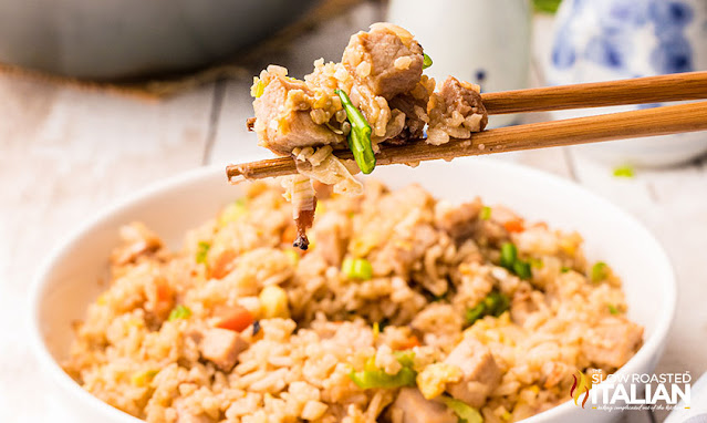 Pork Fried Rice in a bowl and on chopsticks