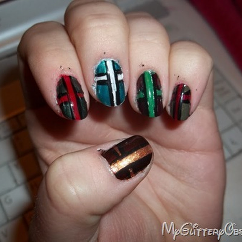 My Glittery Obsessions: Christmas Present Nails (My NailPolishCanada week 2 contest entry design!)