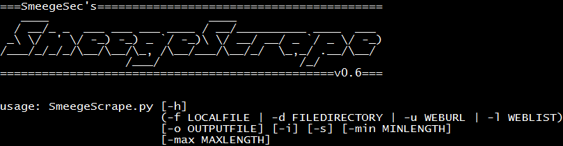 SmeegeScrape: Text Scraper and Custom Word List Generator ~ SmeegeSec