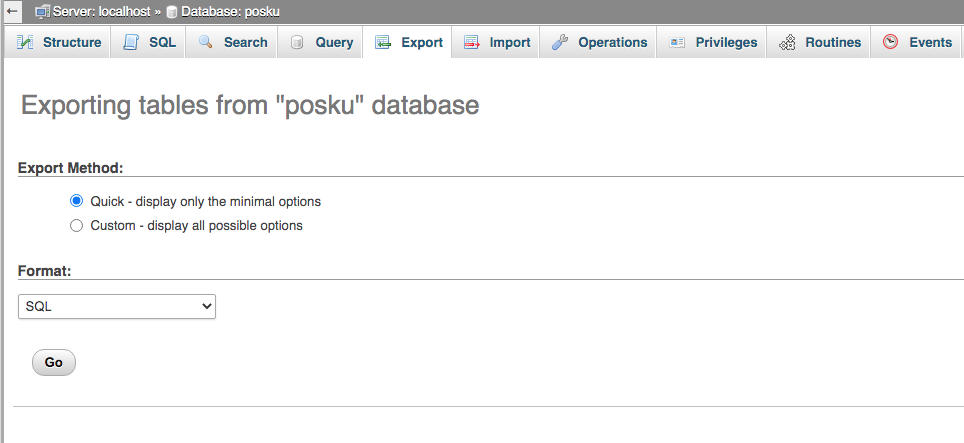 3. Backup Database Mysql dengan Phpmyadmin