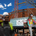 DREAMSCAPE: Enelda is placed at Barclay Center where she did her finest work. Two construction workers are wearing her fashion visors. At her sibling, Bunnie