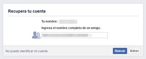 Recuperar cuenta de Facebook a través del nombre de un amigo