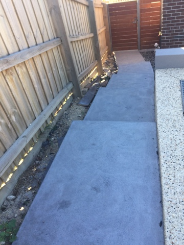 landscaping, sloping block, steps, concrete path