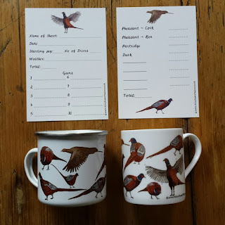 Pheasant shoot cards and mugs by Alice Draws The Line