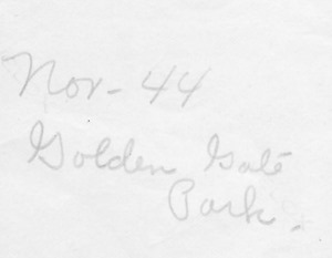 Nov 1944 Golden Gate Park back Pequot lakes