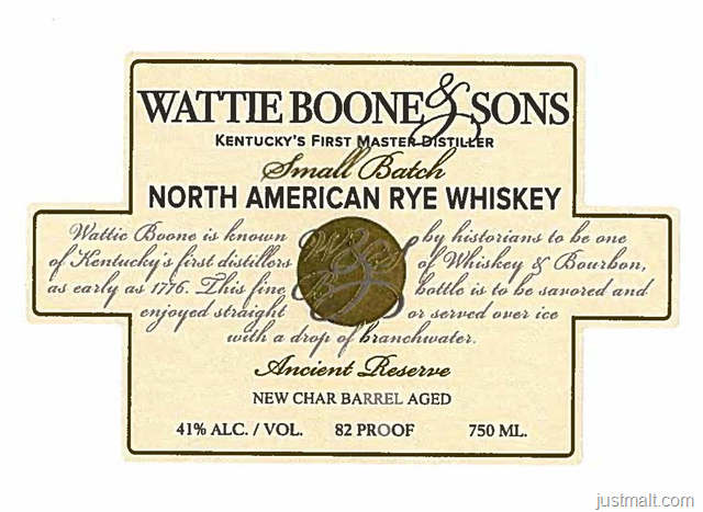 Preservation Distillery Wattie Boone & Sons Small Batch North American Rye Whiskey