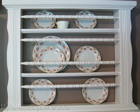 Plate rack from crib spindles