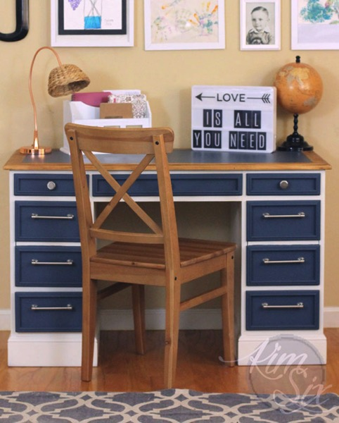 Painted boys blue and white desk
