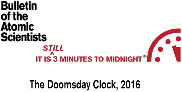 Screenshot from the short video, '2016 Doomsday Clock', 26 January 2016. Photo: The Bulletin of the Atomic Scientists