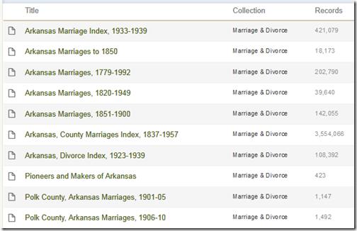 Ancestry.com.拥有十个数据库,涵盖阿肯色州的婚姻。
