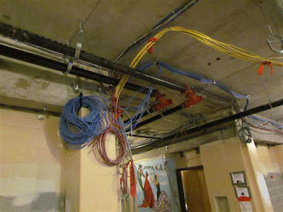 Data and Communications wiring and sprinkler system being installed