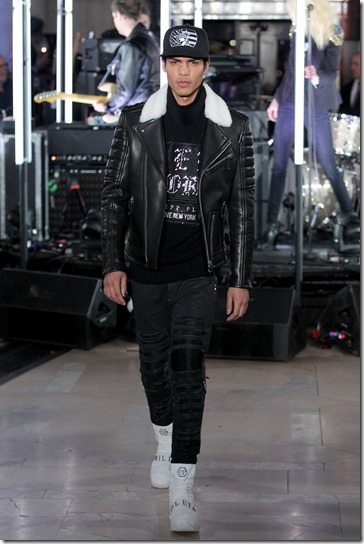NEW YORK, NY - FEBRUARY 13:  A model walks the runway wearing look # 14 for the Philipp Plein Fall/Winter 2017/2018 Women's And Men's Fashion Show at The New York Public Library on February 13, 2017 in New York City.  (Photo by Thomas Concordia/Getty Images for Philipp Plein)