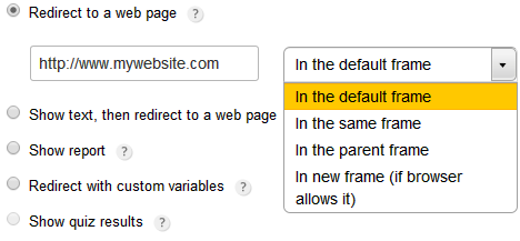 redirect users to a web page