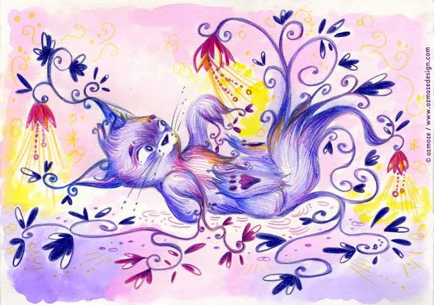 Petit chat joueur en fleur