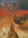 Kippen - 110 x 80 cm - olieverf op paneel (opdracht)