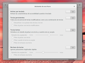 Configurar el sistema. Accesibilidad en Linux y otros. Asistente de escritura.