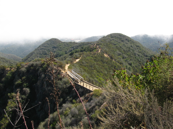 bridge along the Backbone Trail where the ridge becomes too narrow