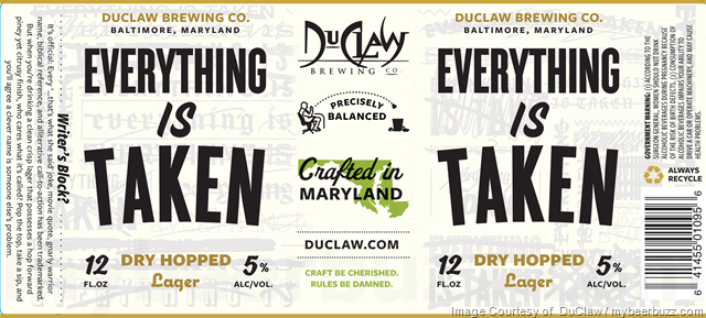 DuClaw Adding Everything Is Taken Dry-Hopped Lager
