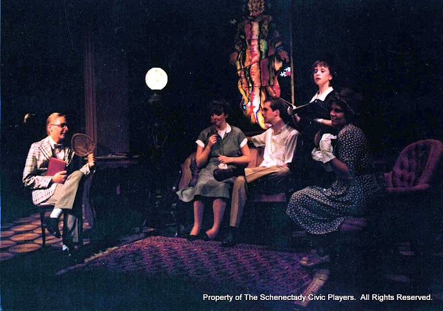 Mark Podrazik,  Barbara Early, David Yezzi, Jennifer Gilson and Shannon Penrod in SUMMER AND SMOKE - July/August 1985.  Property of The Schenectady Civic Players Theater Archive.
