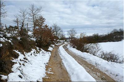 El ancho camino de tierra pronto se convierte en pista asfaltada