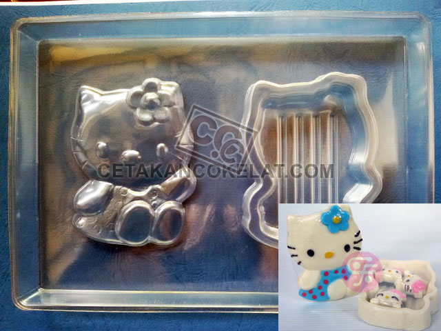 cetakan coklat cokelat PBK-Flower hello kitty pour box pourbox