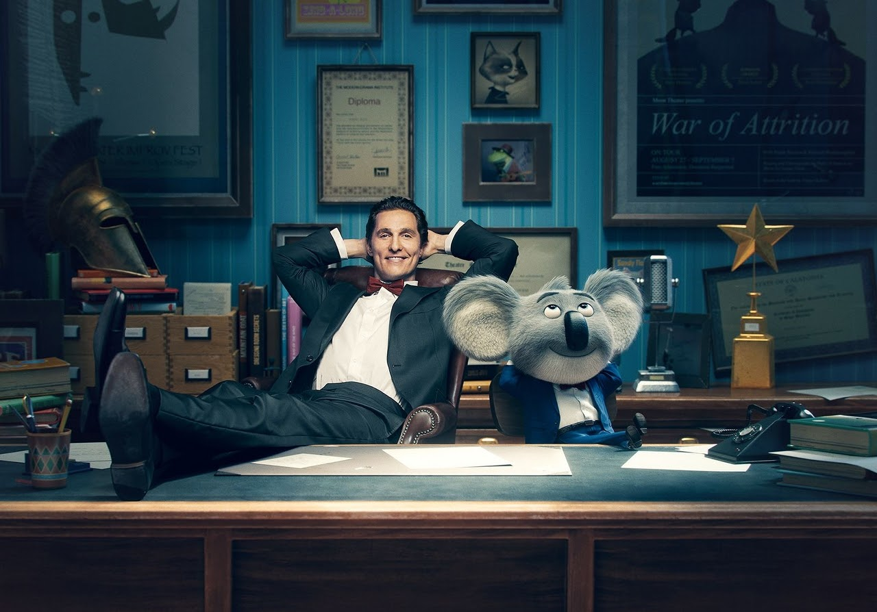 Matthew McConaughey and his SING character, Buster Moon. (Photo courtesy of Illumination Entertainment and Universal Pictures).