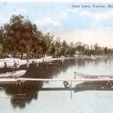 Cass Lake, Pontiac, Mich. postcard of lake with dock