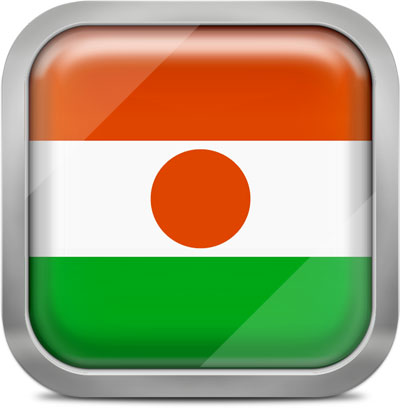Niger square flag with metallic frame
