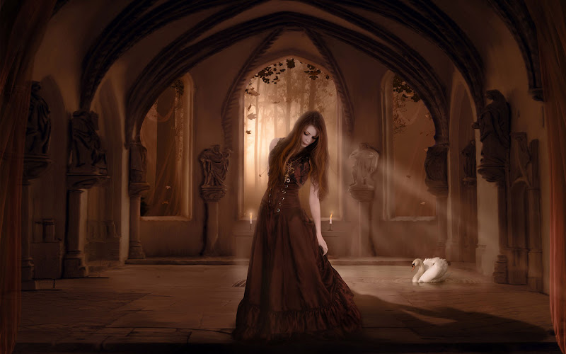 Lady In Castle Of Swans, Gothic