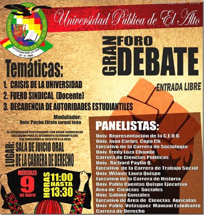 Foro debate en la UPEA