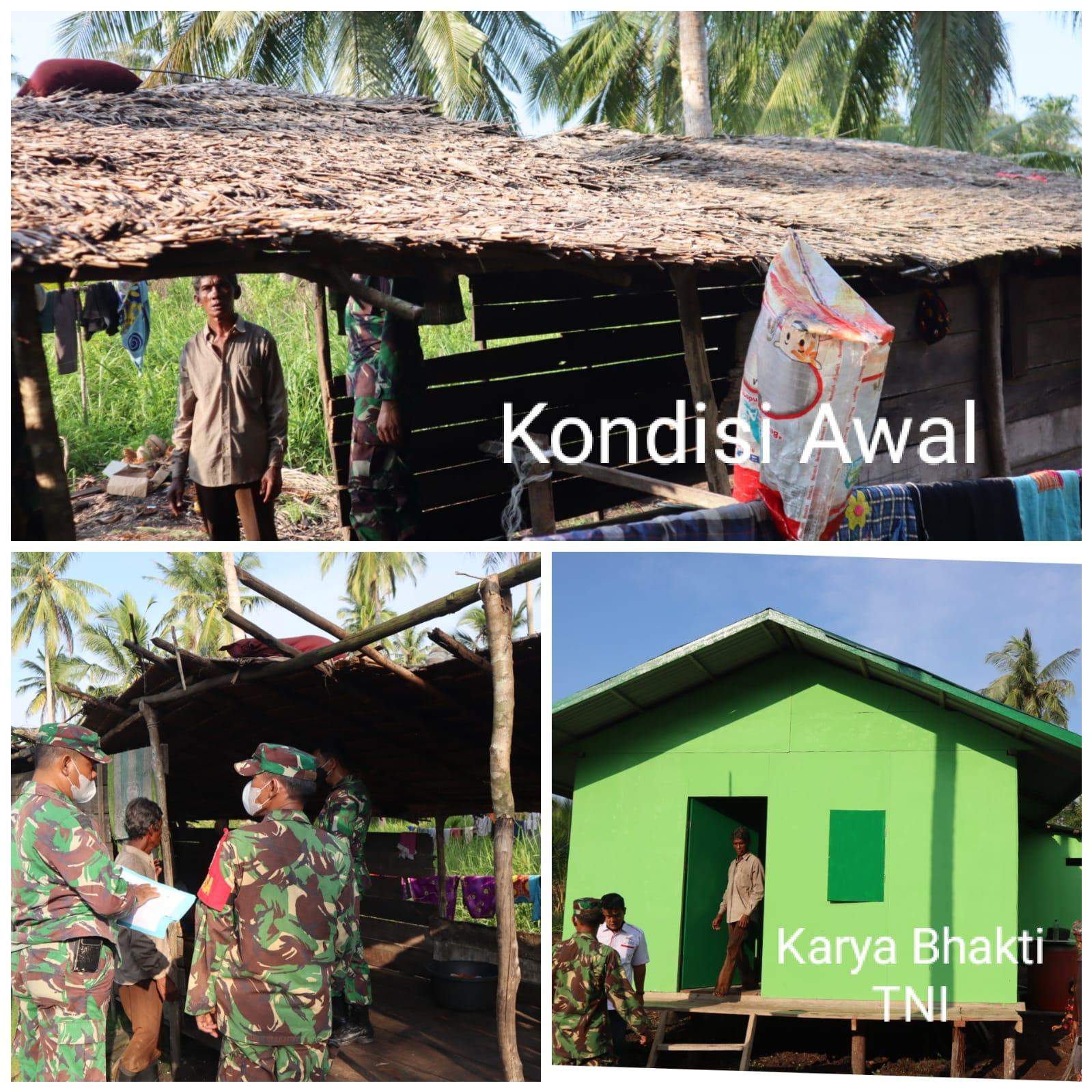 Dandim 0314 Inhil Tinjau Bedah Rumah Warga Tidak Mampu di Kecamatan Mandah, Riau