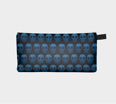 blue skulls pencil case