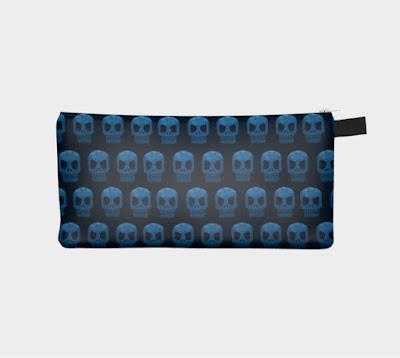 blue skulls pencil case