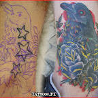 ankle stars bird - Cover UP Tattoos Pictures