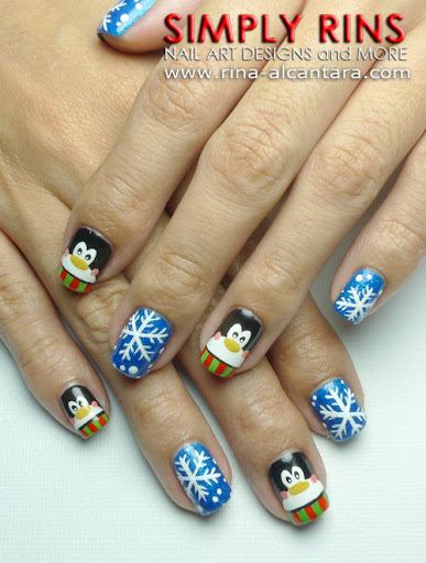 Penguins and Snowflakes Nail Art Design