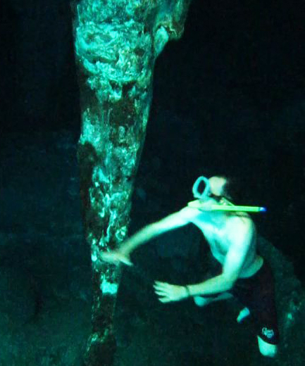 underwater stalactite in Grand Cenote, Tulum, Mexico