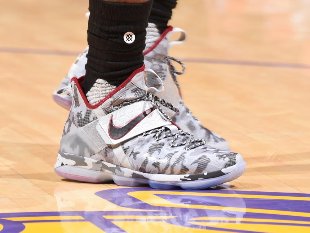 7f75a31f0ba King James Debuts Special Camo Nike LeBron 14 in Hollywood ...