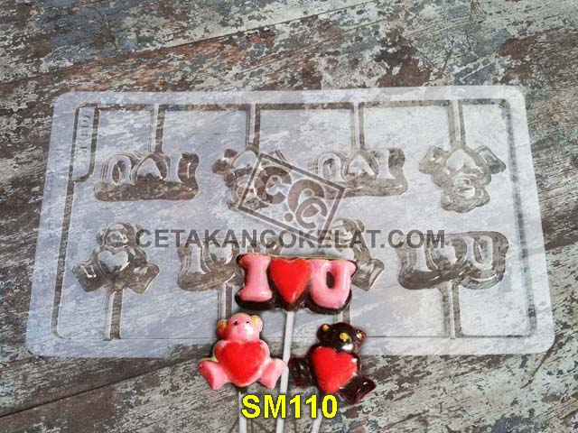 cetakan coklat cokelat SM110 mold mould lolipop teddy bear love chocolate #cetakancoklat