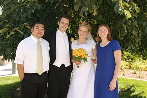 Photo of myself, Brian, Traci and Tracis maid of honor Anna on August 20, 2005 at Tracis house in American Fork, UT. Photo courtesy of Brian Brown.