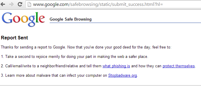 Phishing Report Successfully Sent message